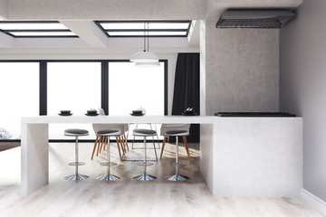 Gray and wooden kitchen and dining room