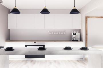 White, wooden kitchen, bar, poster