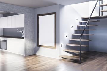 White and gray kitchen corner, poster