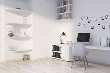 Modern home office interior, computer