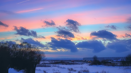 Night Winter Landscape With Pink Clouds At Sunset