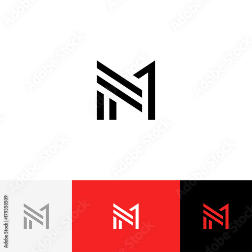 M 1 Vector Logo Logotype Icon Symbol Sign From Letters M And One