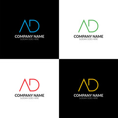 Vector illustration. Letter AD logo, icon flat and vector design template. Monogram the letter a and d logotype for brand or company with text.