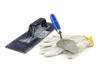 Gloves with trowel isolated on white background
