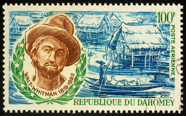 Poet Walt Whitman on postage stamp