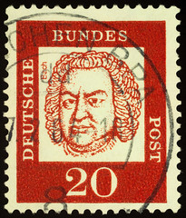 Portrait of Johann Sebastian Bach on postage stamp