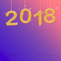 2018 Happy new year white color hanging at pink gradient to purple studio room,Hoilday greeting card,Mock up for display or montage of product (3d rendering)
