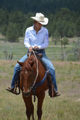 Middle-Aged Cowgirl on Brown Horse