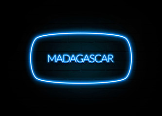 Madagascar  - colorful Neon Sign on brickwall