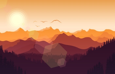 Sunset mountains landscape with forest and bird flying