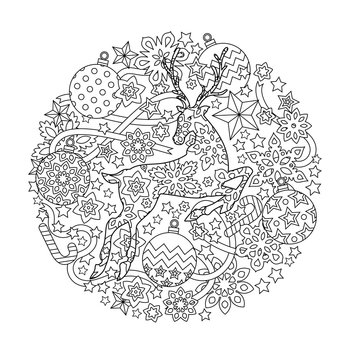 New year mandala with deer and festive objects. Zentangle inspired style. Zen monochrome graphic. Image for calendar, congratulation card, coloring book.