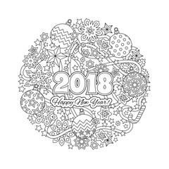 New year mandala with numbers 2018 on winter snowflake background. Zentangle inspired style. Zen monochrome graphic. Image for calendar, congratulation card, coloring book.