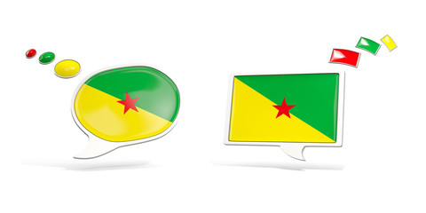 Two chat icons with flag of french guiana