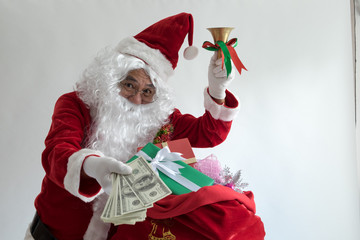 Santa with a gifts box white background.