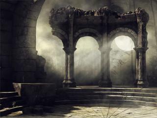 Ruiny starożytnego teatru na tle pełni księżyca Wall mural