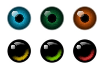 Abstract eyes reflection icon collection.