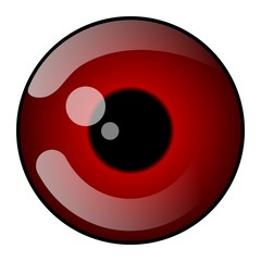 Abstract red eyes reflection icon.