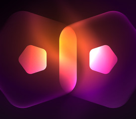 Glowing glass transparent pentagans, geometric abstract digital background
