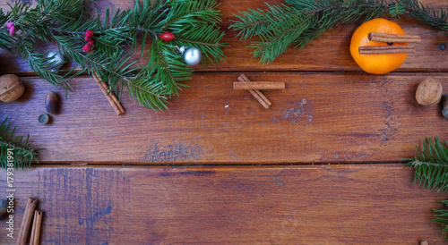 Christmas Wooden Background With Christmas Decoration Christmas Fir