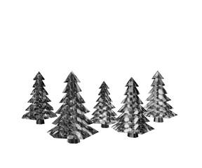 Low Poly Tannenbäume Silber