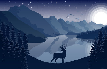 Night Mountains landscape with deer and stars on the sky
