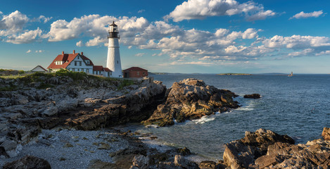 Panorama of Portland Lighthouse at sunset in Cape Elizabeth, Maine, USA.