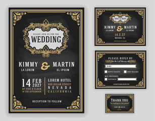 Vintage luxurious wedding invitation on chalkboard background