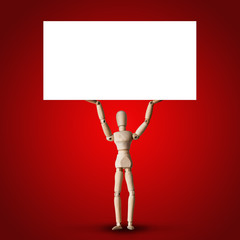 Wooden Mannequin holds big white empty board or clear banner above head on red background for public crisis revolution, or protest or advertisement concept