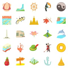 Different culture icons set, cartoon style