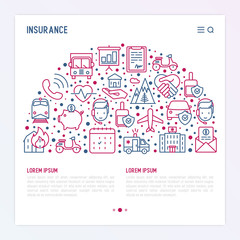 Insurance concept in half circle with thin line icons: health, life, car, house, savings. Modern vector illustration for banner, template of web page, print media.