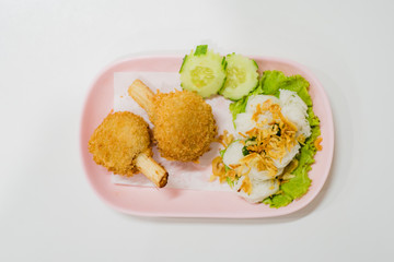 Fried Shrimp with Sugar Cane  with Chinese noodles, Vietnam food, Thai food
