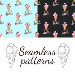 Set. Seamless patterns. Skeletal hand and ice cream. The ice cream melts. Eyeballs in ice cream.
