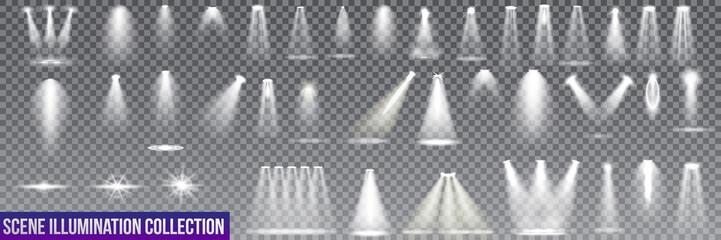 Big collection scene illumination on transparent background. stage illuminated spotlight. Vector illustration. Wall mural