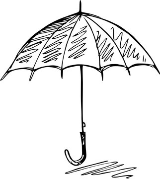 sketch of an umbrella on white background