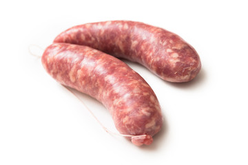 Due freschi salsicciotti di maiale