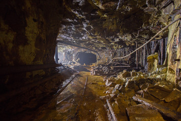 Old abandoned gold mine shaft ore tunnel gallery