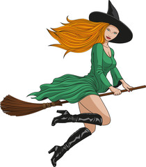 witch on a broomstick in halloween.
