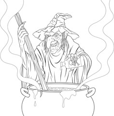 terrible witch cooks the potion.