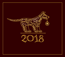 Silhouette of a dog with new year label on dark background. Holiday greetings.