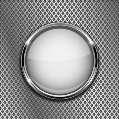 Round white button with chrome frame. On metal perforated background