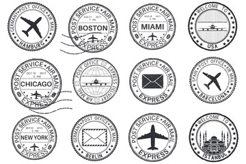 Tourist stamps and postmarks. Collection of round ink stamps