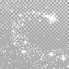 Bright Shooting Christmas magical star over checkered layout