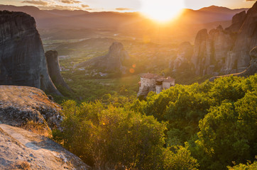 Meteora monastery on sunset