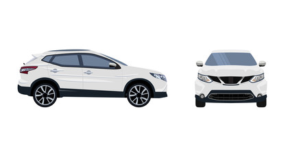 Sport car. Vector image of a white SUV car with black wheels. Solid, flat color design. No simple gradients . No gradient mesh.