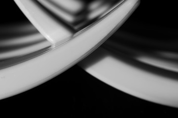 Abstract black and white background with a plastic fork