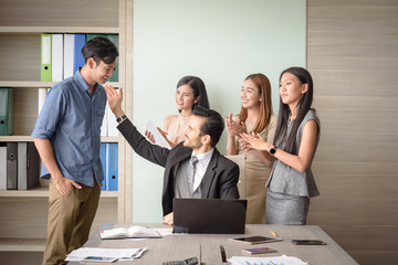 business people clapping in office after signing agreement, Achievement, congratulation and appreciation concept