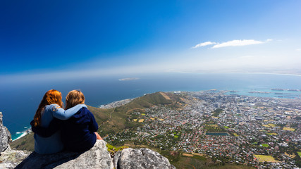 Two girls on top of Table Mountain, Cape town
