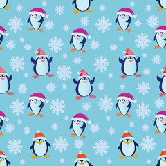 Seamless pattern with funny penguins. Penguin in a red hat and snowflakes. Design for textiles, tapestries, gift wrapping.