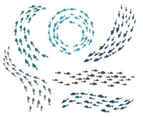 Small fish groups vector illustration. Swimming fishes silhouettes isolated on white background