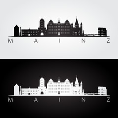 Mainz skyline and landmarks silhouette, black and white design, vector illustration.